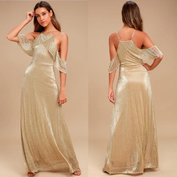 52f508db775f Lulu s Shine Bright Gold Off Shoulder Maxi Dress